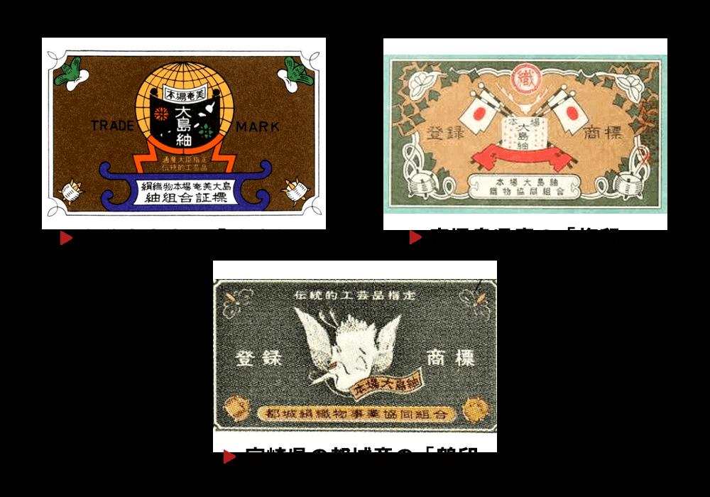本場大島紬を示す3つの証紙の画像